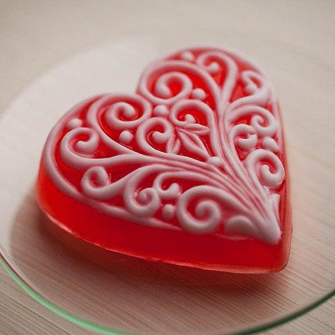 Мыло Сердце с орнаментом. Пластиковая форма