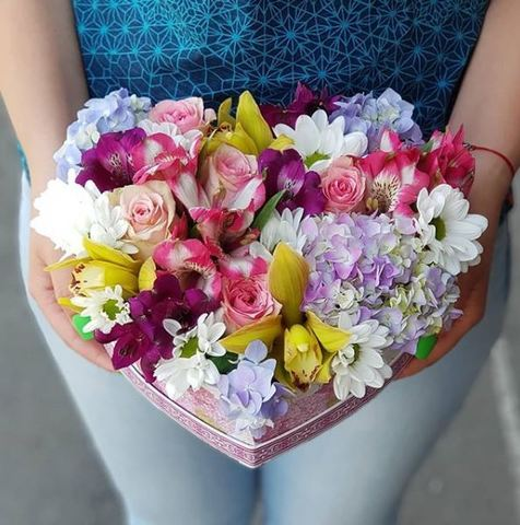 Сердце с микс цветами