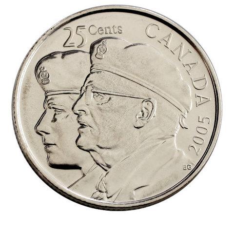 25 центов  год ветеранов 2005 год UNC