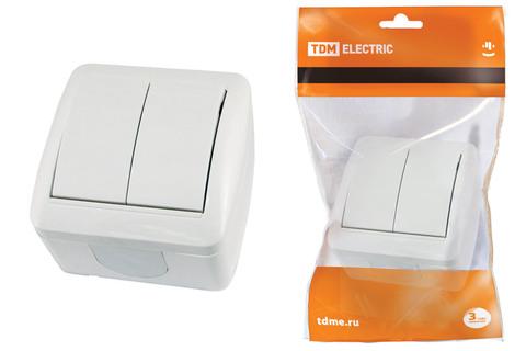 Выключатель 2-кл. открытой установки IP44 10А белый