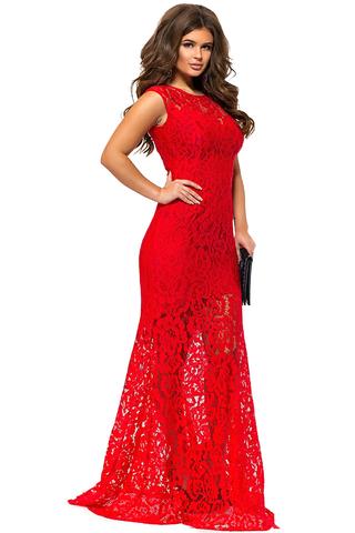 Длинное кружевное платье, красное