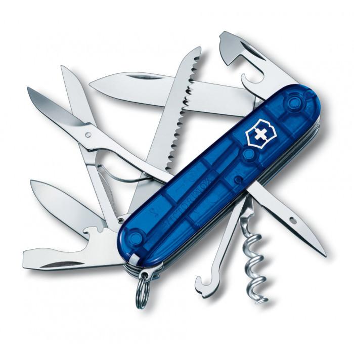 Нож складной Офицерский Victorinox 1.3713.T2 Huntsman, полупрозрачный синий
