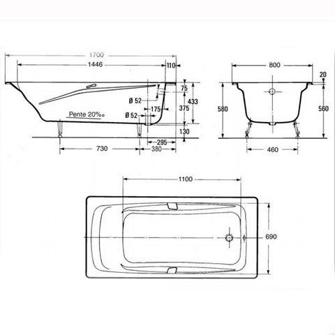 Ванна чугунная Jacob Delafon Repos 170x80 E2918-00 схема