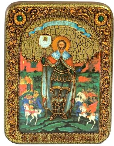 Инкрустированная икона Святой благоверный князь Александр Невский 20х15см на натуральном дереве в подарочной коробке