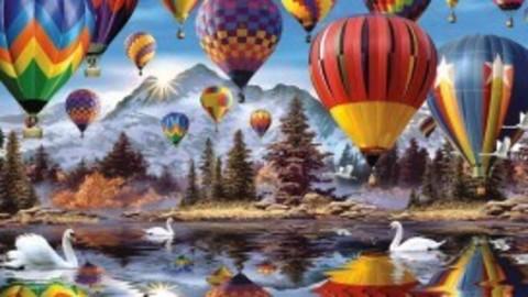 Алмазная Мозаика 5D 40x50 Воздушные шары и лебеди на фоне гор