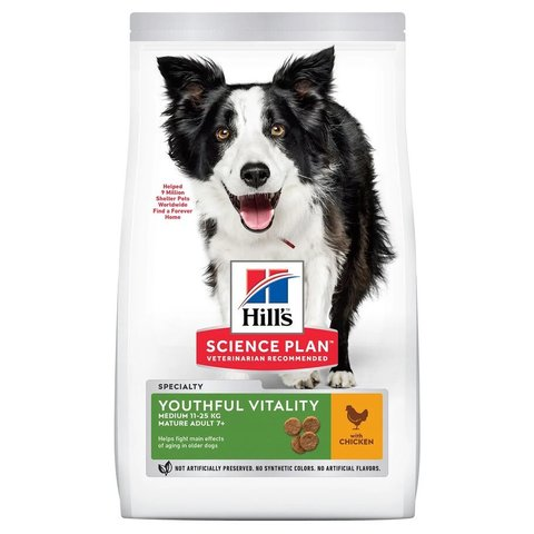 Сухой корм Hill's Science Plan Youthful Vitality для пожилых собак (7+) средних пород для поддержания здоровья иммунной системы и активности головного мозга, с курицей и рисом
