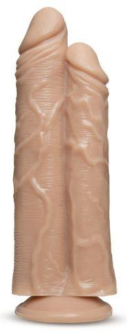 Телесный сдвоенный фаллоимитатор Double Trouble Double Shaft Dildo - 24 см.