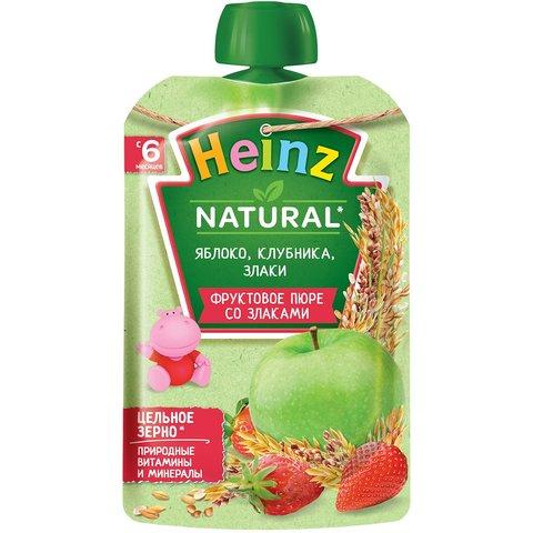 Пюре Heinz яблоко, клубника, злаки пауч 90 гр. (6+ мес.)