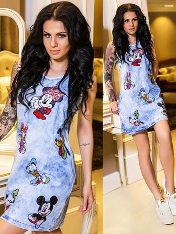 Джинсовое короткое платье с апликацией Микки Маус, голубое