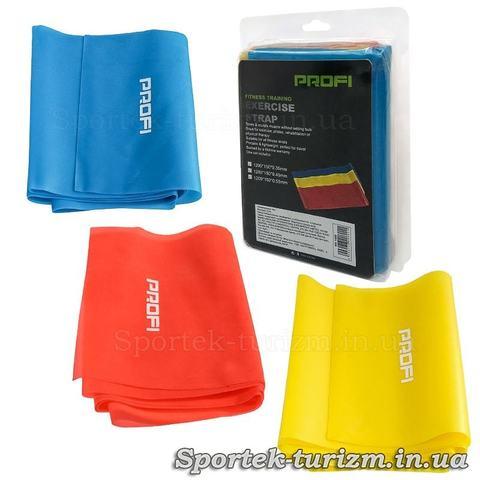 Набор из 3 резинок разной жесткости для фитнеса 120х15 см Profi (MS-1488)