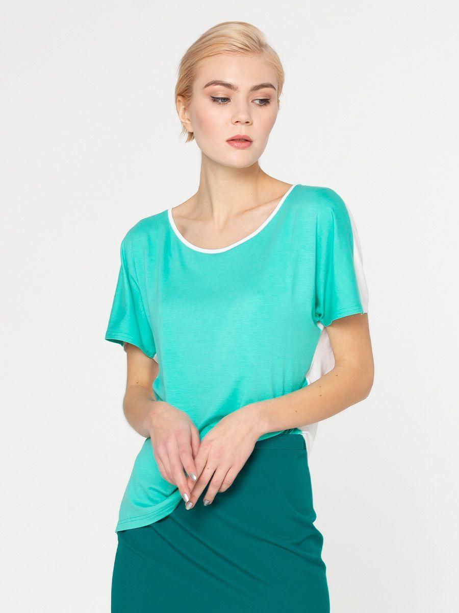 Т-шот М278-617 - Оригинальный двусторонний т-шот - одна сторона белая, другая бирюзовая - можно носить любым цветом к лицу. Получается две вещи в одной. Базовая модель станет основой для создания разных по стилю образов. Она хорошо сочетается с юбками, брюками, джинсами и шортами разного фасона.