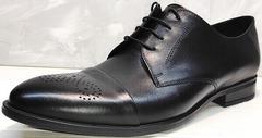 Классические мужские туфли на шнурках Ikoc 2249-1 Black Leather.