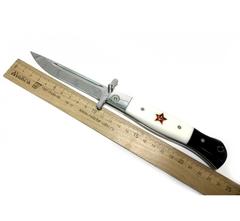 Складная финка НКВД со звездой, Х12МФ, черно-белый акрил