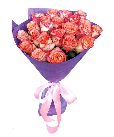 Букет из 21 розово-оранжевой розы