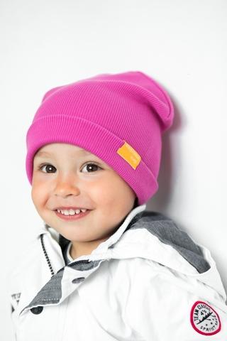 Детская шапка хлопковая в рубчик малиновая фуксия