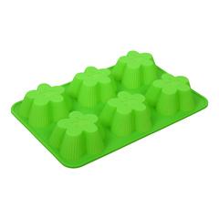 Форма для выпечки из силикона «Цветочки» 25,5х17,5х3,5 см 6 ячеек