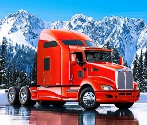 Алмазная Мозаика 5D 40x50 Красный грузовик на фоне гор