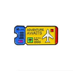 Пин «Билет на самолёт» (жёлтый)