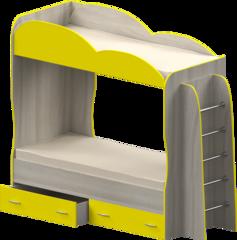 Кровать детская двухъярусная Индиго, желтая