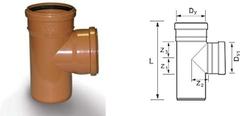 Тройник для дренажных труб d=110х110мм 90 градусов