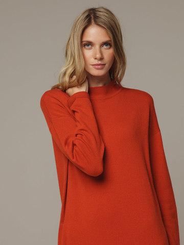 Женское оранжевое платье с разрезами из шерсти и кашемира - фото 2