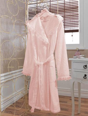 Женский короткий махровый халат LUNA розовый