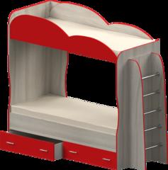 Кровать детская двухъярусная Индиго, красная