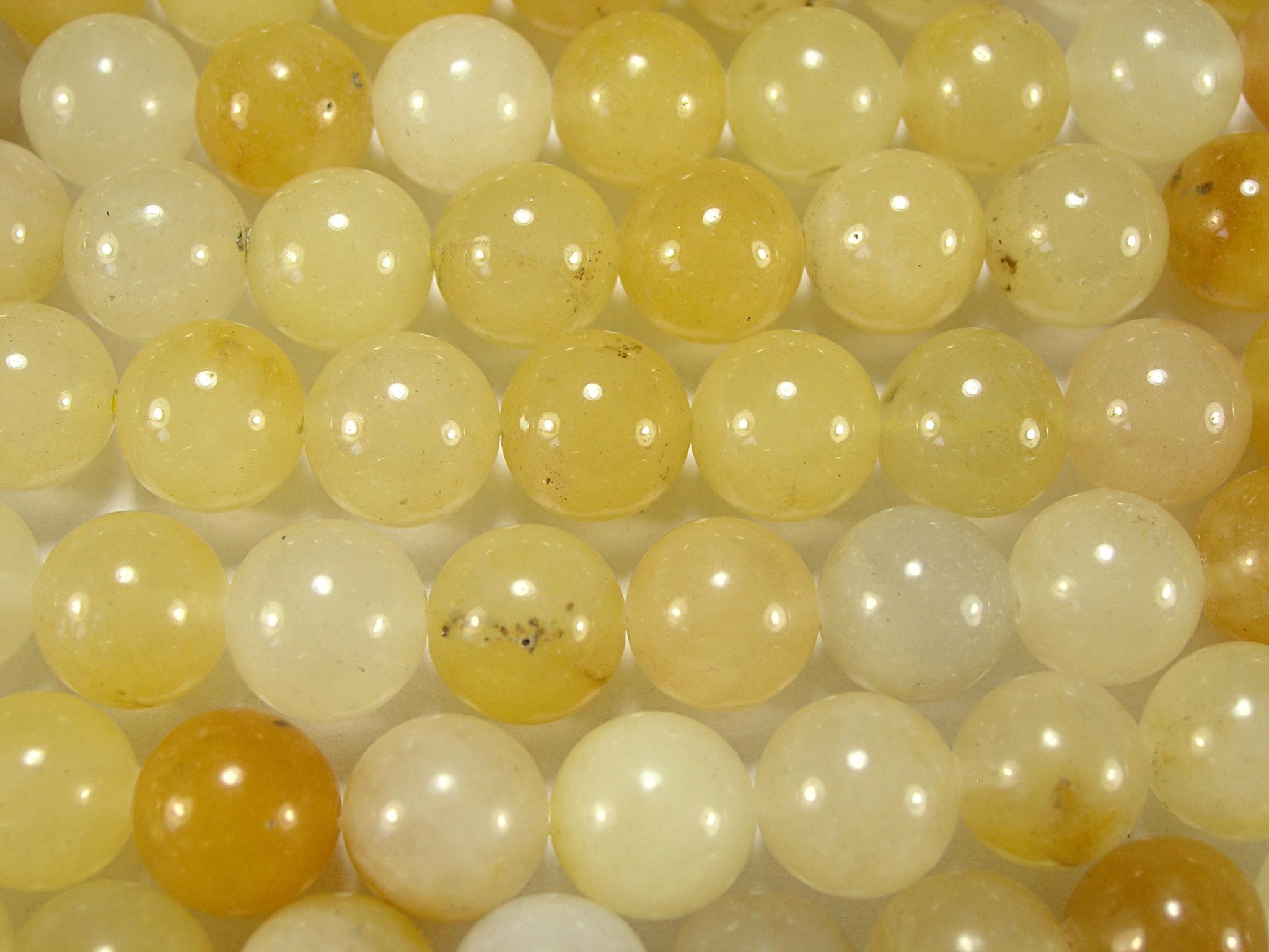 Нити бусин из жадеита желтого, шар гладкий 12мм (оптом)