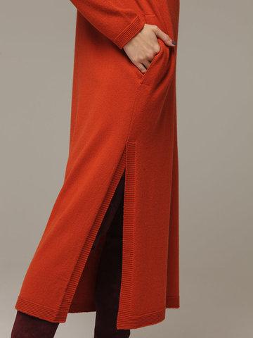 Женское оранжевое платье с разрезами из шерсти и кашемира - фото 4