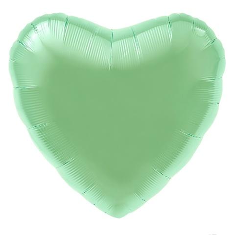 Шар сердце мятный сатин, 45 см