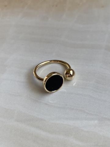 Кольцо Берниара, позолота с черной вставкой
