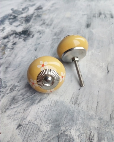 Ручка мебельная керамическая   - желтая узором