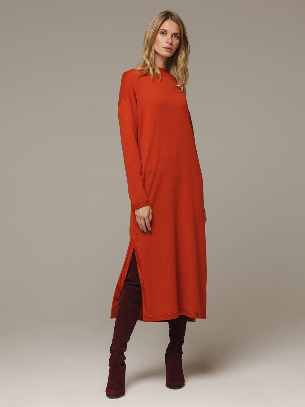 Женское оранжевое платье с разрезами из шерсти и кашемира - фото 1
