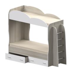 Кровать детская двухъярусная Индиго, белая