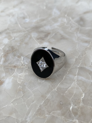 Печатка из серебра с черной эмалью