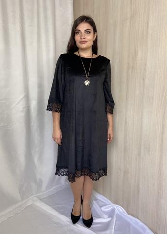 Лоліта. Нарядне велюрове плаття з мереживом. Чорний