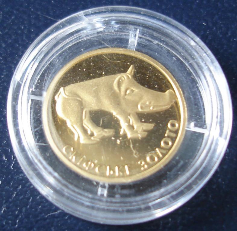 2009 год 2 гривны Au-999, Украина Скифское золото, Кабан, 1,24 гр.
