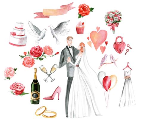 Печать на сахарной бумаге, Набор Свадьба 3