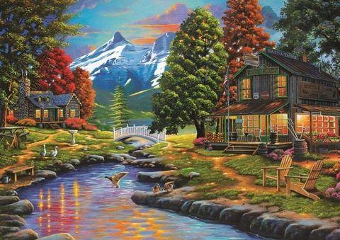Алмазная Мозаика 40x50 Дом в горах (арт. ZX8636)