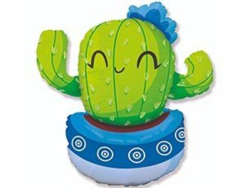 Фольгированный шар Кактус в голубом кашпо