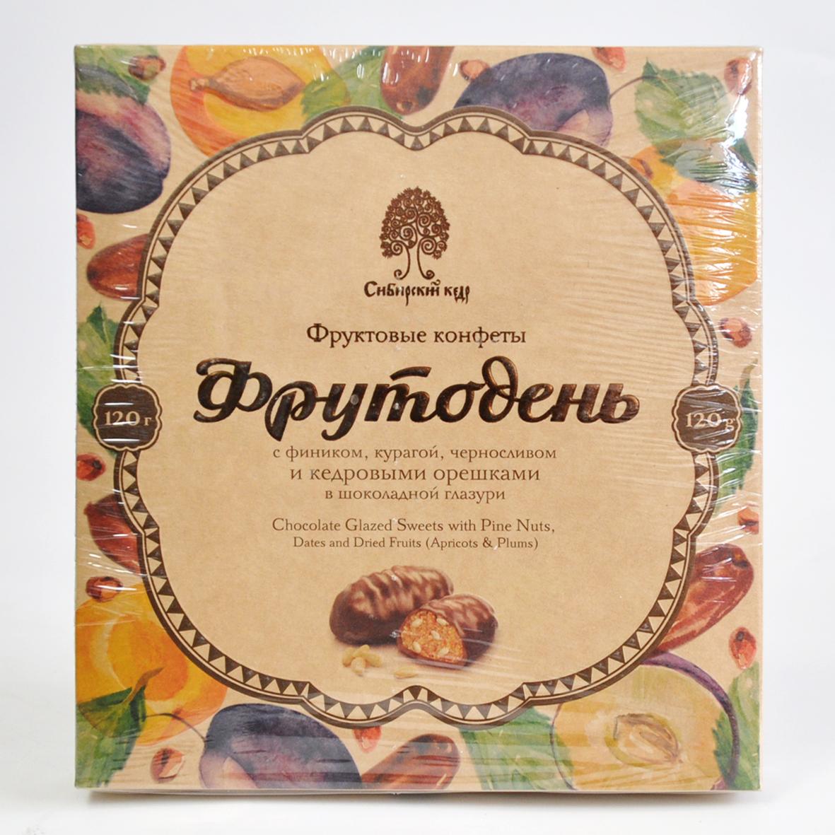 Конфеты Фрутодень с кедровыми орешками в шоколадной глазури Сибирский Кедр 120 г