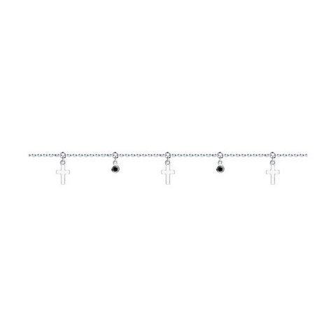 94050660 - Браслет на ногу из серебра с фианитами и подвесками крестиками