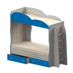 Кровать детская двухъярусная Индиго, голубая
