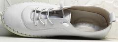 Летние мокасины кроссовки белые женские Rozen 115 All White.
