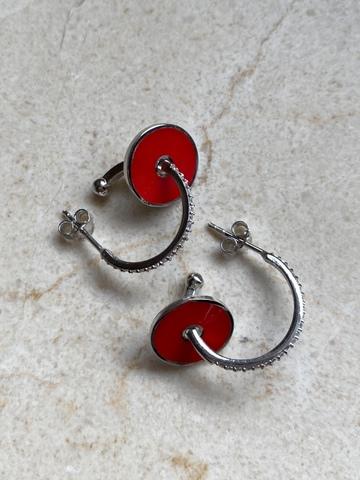 Серьги Пирс из серебра, красная эмаль