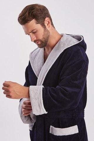 Мужской махровый халат из бамбука  929 синий PECHE MONNAIE