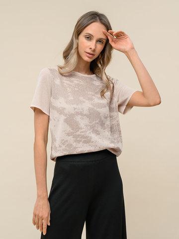 Женская футболка бежевого цвета из вискозы - фото 2