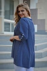 Галактика. Блуза свободного кроя большого размера. Ромб синий.