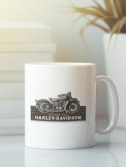 Кружка с рисунком Harley-Davidson (Харли-Дэвидсон) белая 001