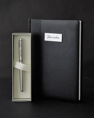 Набор с гравировкой: Ежедневник и ручка роллер Parker IM Stainless Steel CT123